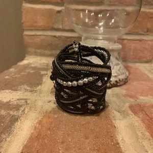 Black and silver beaded wrap bracelet